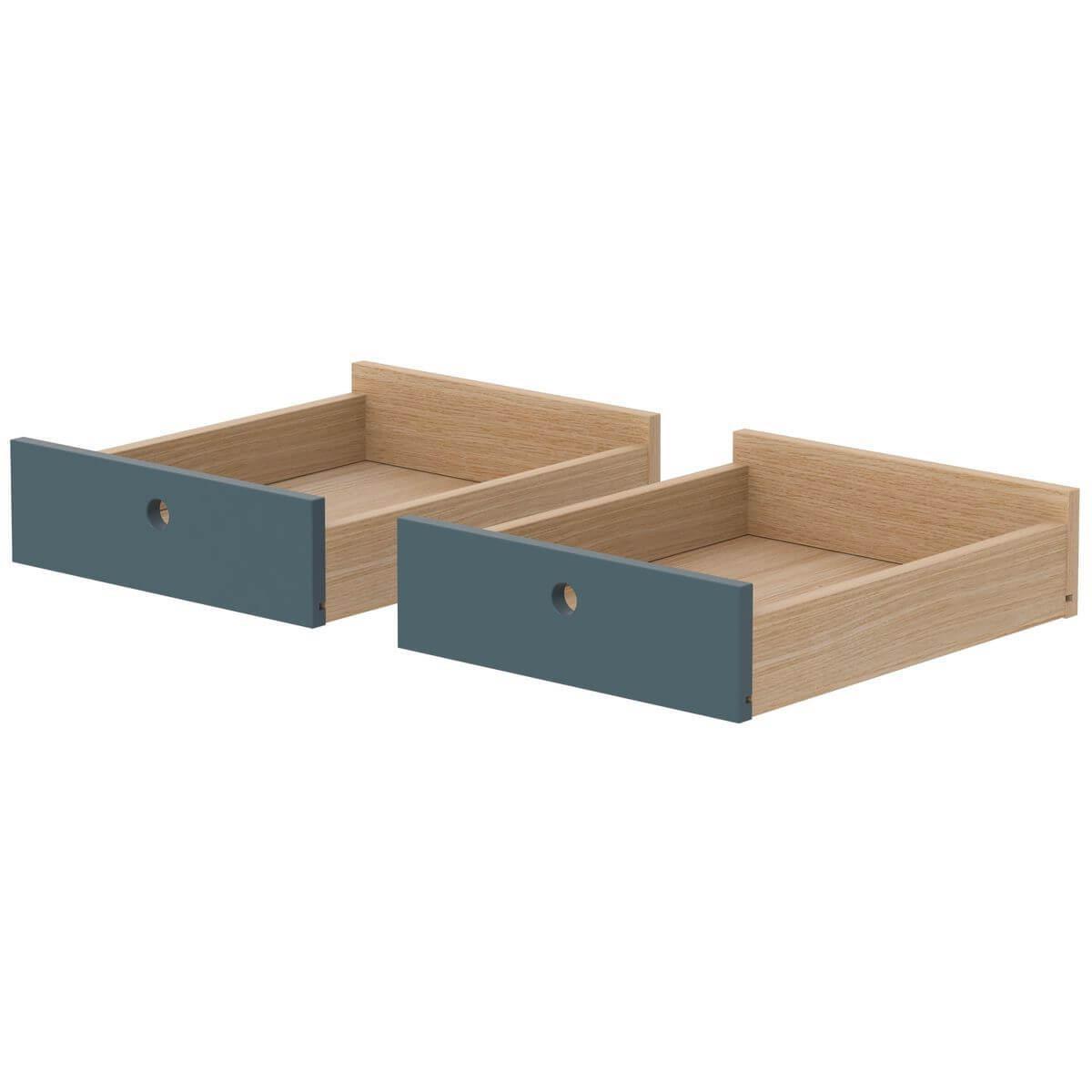 2 tiroirs-bureau POPSICLE Flexa chêne-blueberry