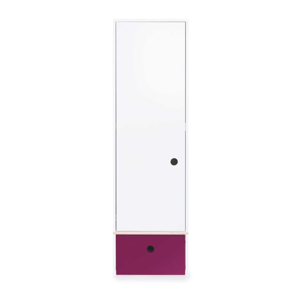 Armoire 1 porte COLORFLEX Abitare Kids façade tiroir plum