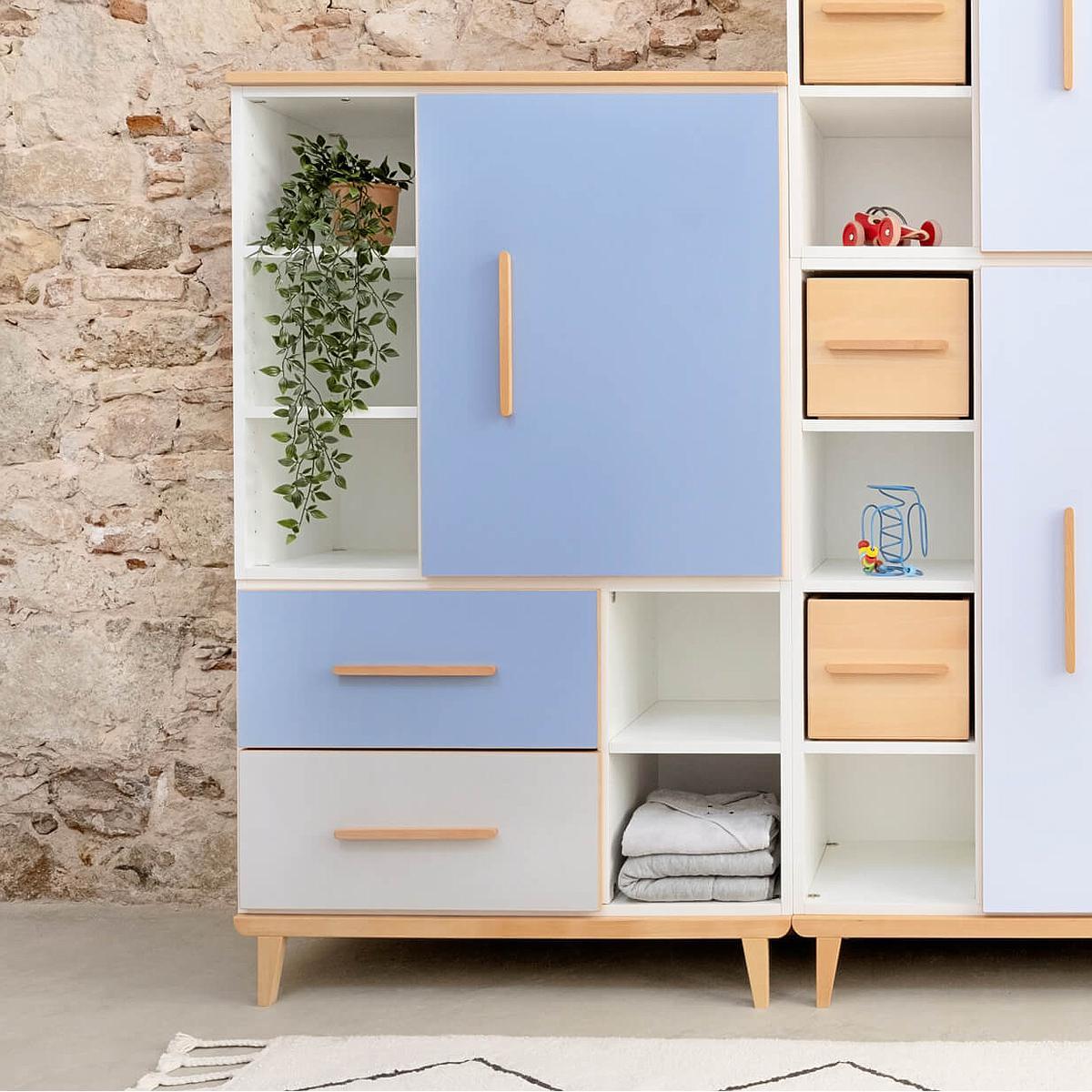 Armoire 147cm 1 porte 2 tiroirs hors façades NADO By A.K.