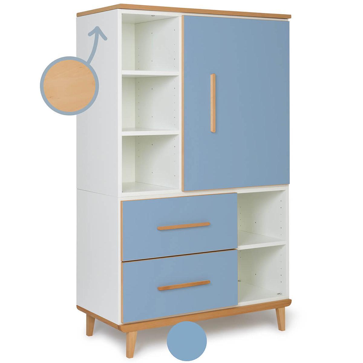 Armoire 147cm 1 porte 2 tiroirs NADO By A.K. capri blue