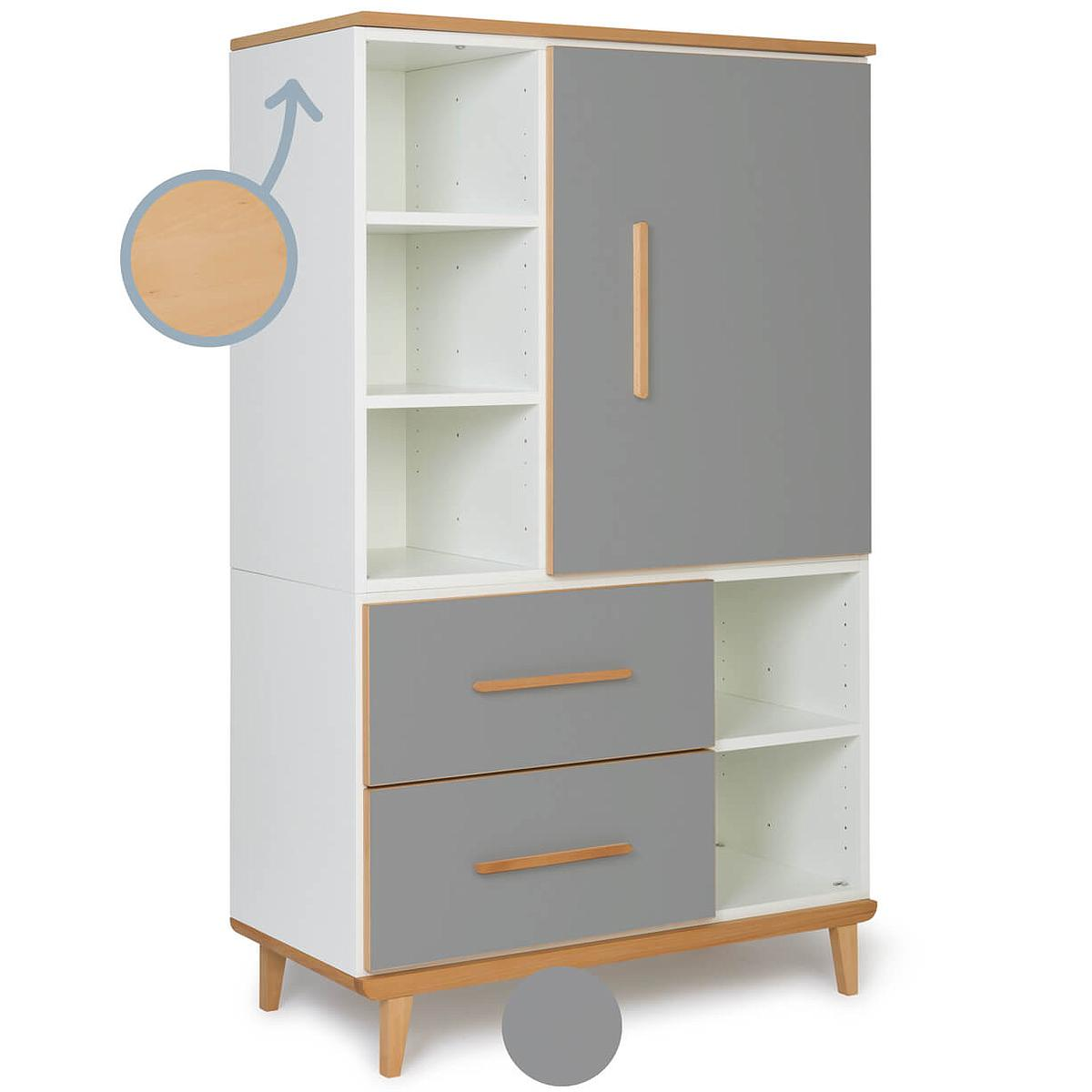 Armoire 147cm 1 porte 2 tiroirs NADO slate grey