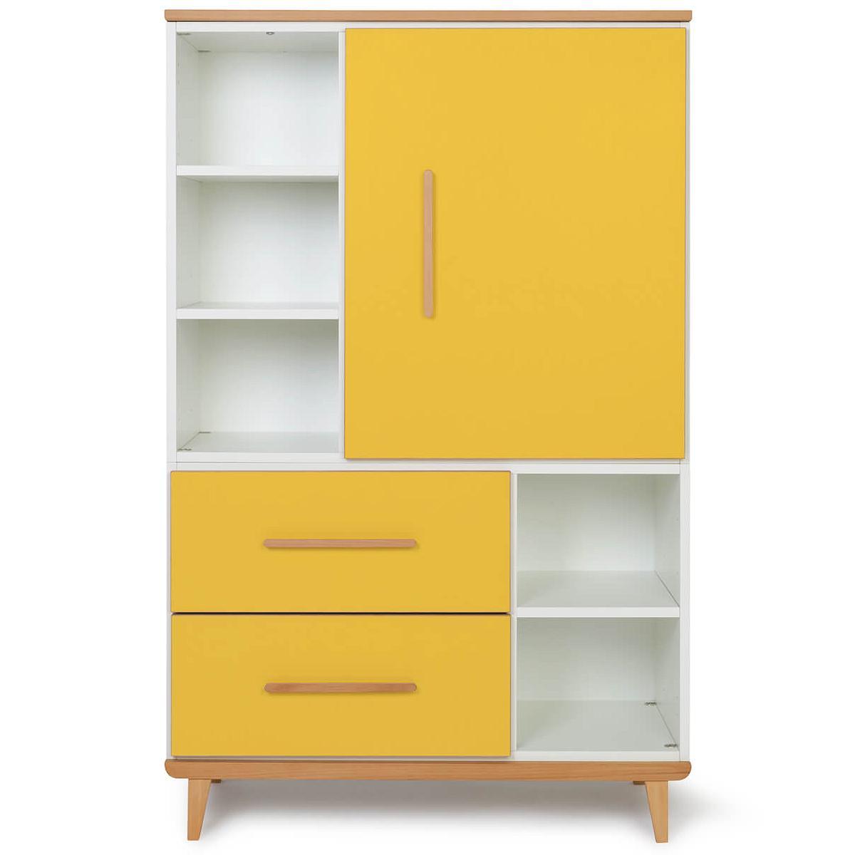 Armoire 147cm 1 porte 2 tiroirs NADO sunshine yellow