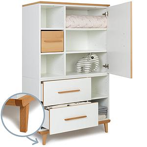 Armoire 147cm 1 porte 2 tiroirs NADO white