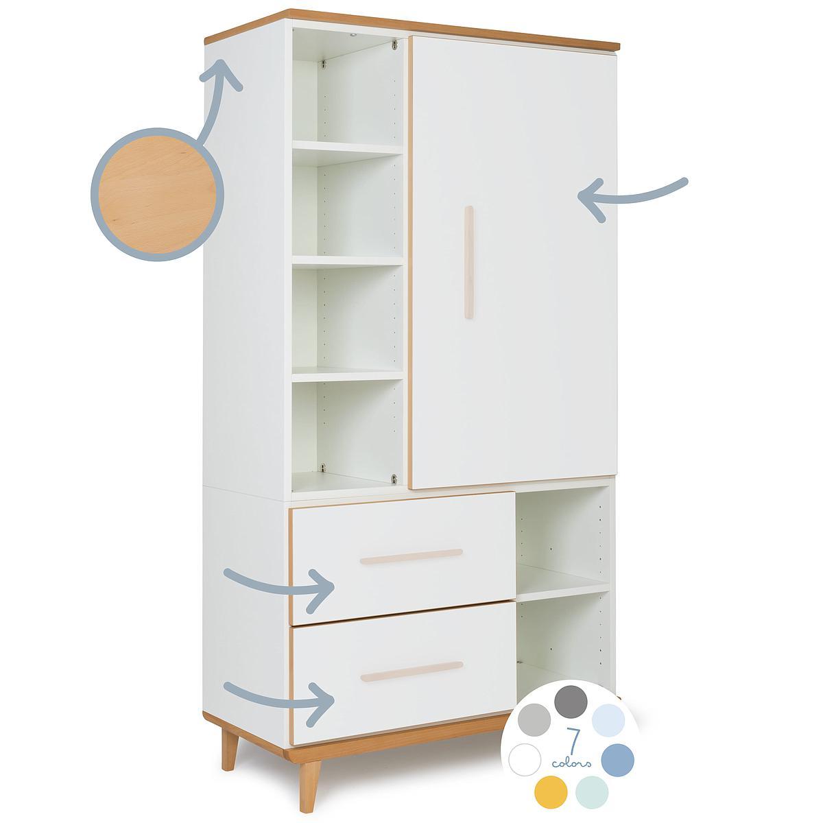 Armoire 173cm 1 porte 2 tiroirs hors façades NADO