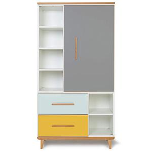 Armoire 173cm 1 porte 2 tiroirs NADO By A.K. slate grey-mint-sunshine yellow