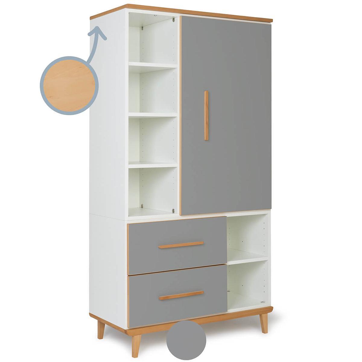 Armoire 173cm 1 porte 2 tiroirs NADO By A.K. slate grey