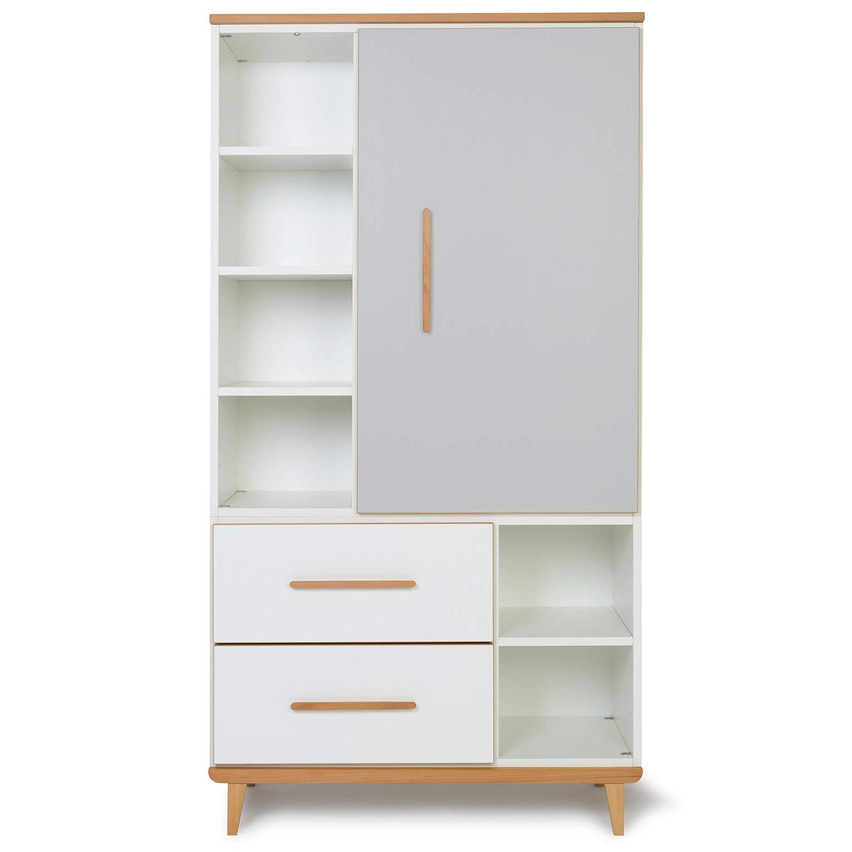 Armoire 173cm 1 porte 2 tiroirs NADO manhattan grey-white
