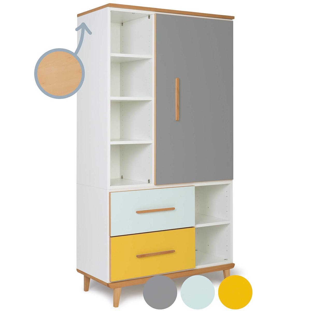 Armoire 173cm 1 porte 2 tiroirs NADO slate grey-mint-sunshine yellow