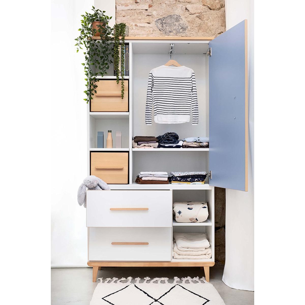 Armoire 173cm 1 porte 2 tiroirs NADO white