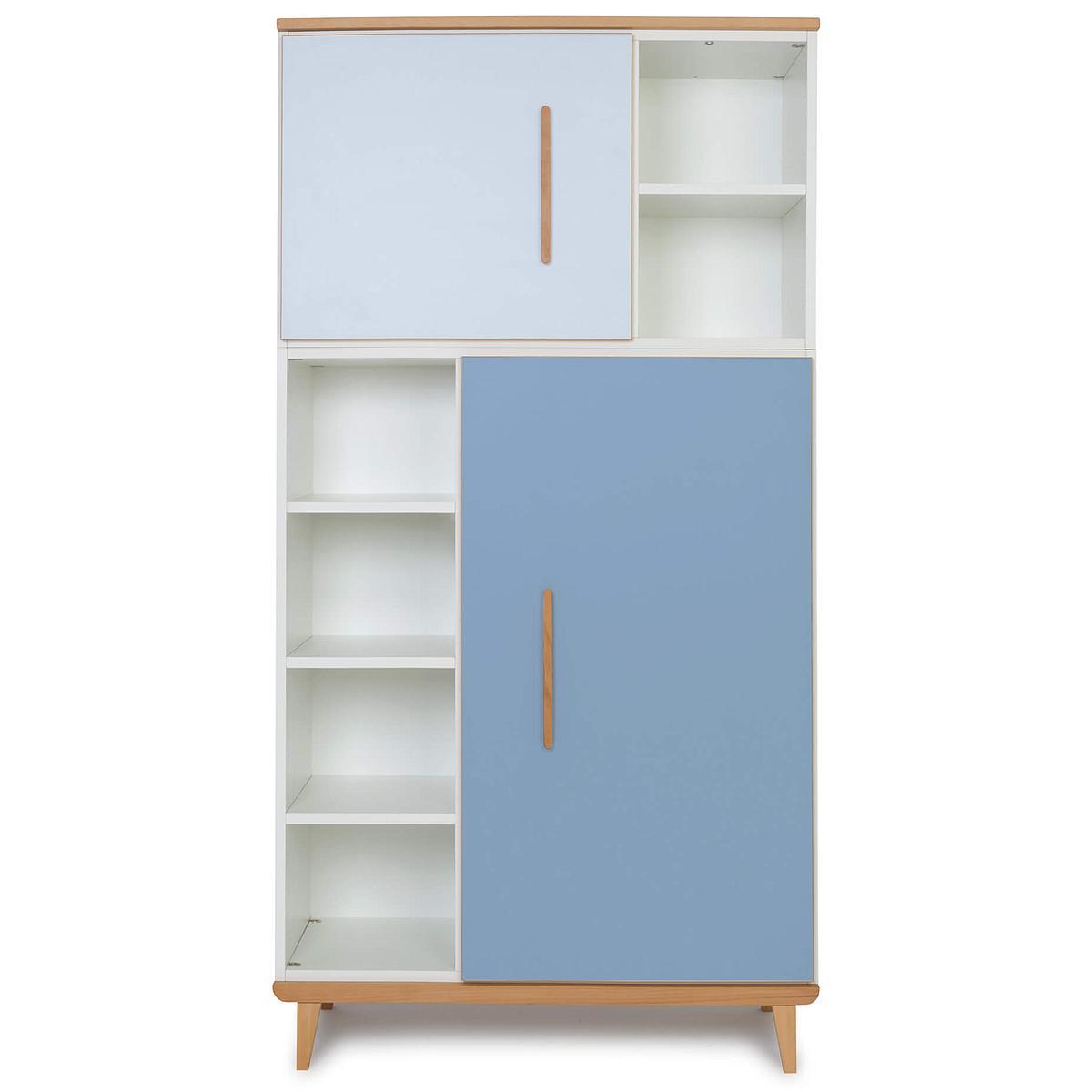 Armoire 173cm 2 portes NADO sky blue-capri blue