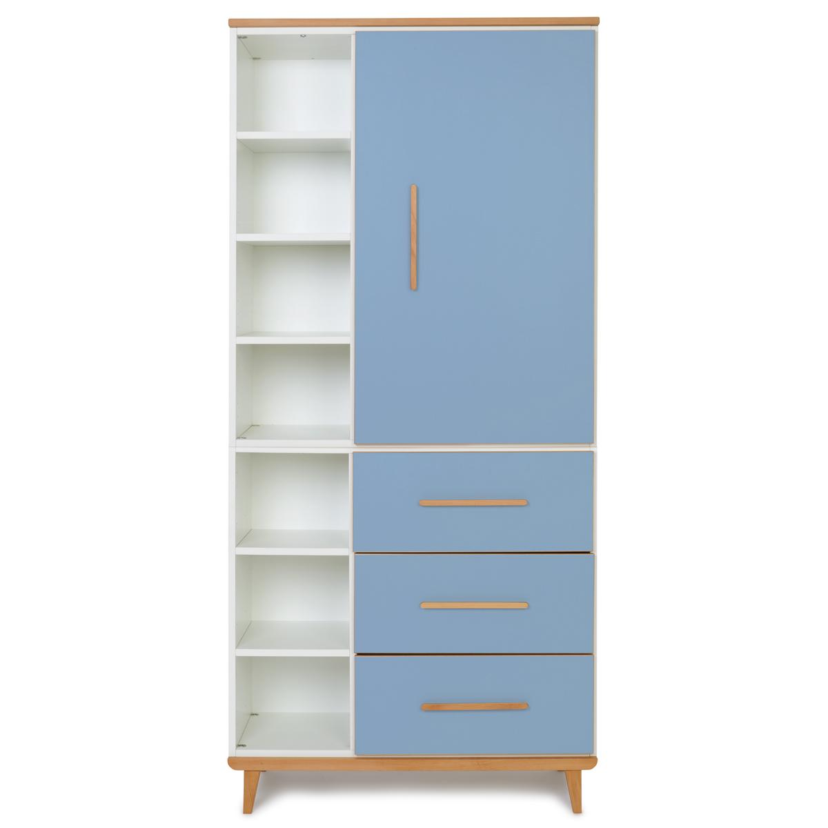 Armoire 198cm 1 porte 3 tiroirs NADO By A.K. capri blue