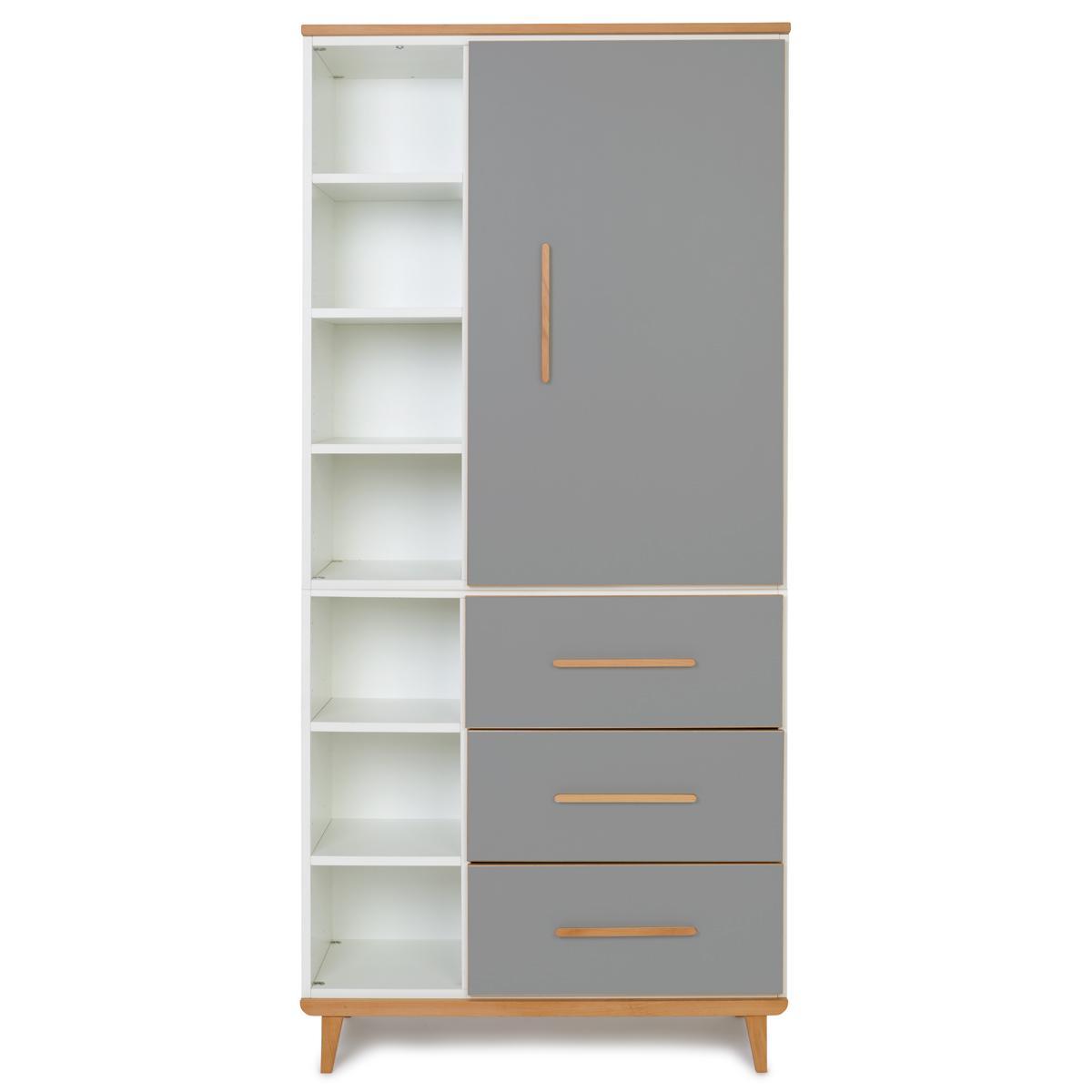 Armoire 198cm 1 porte 3 tiroirs NADO By A.K. slate grey
