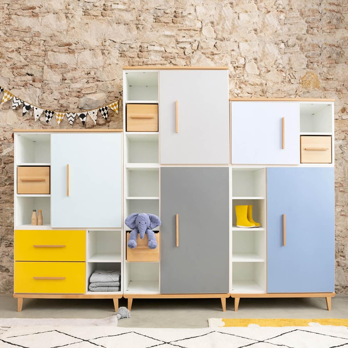 Armoire 198cm 1 porte 3 tiroirs NADO By A.K. sunshine yellow