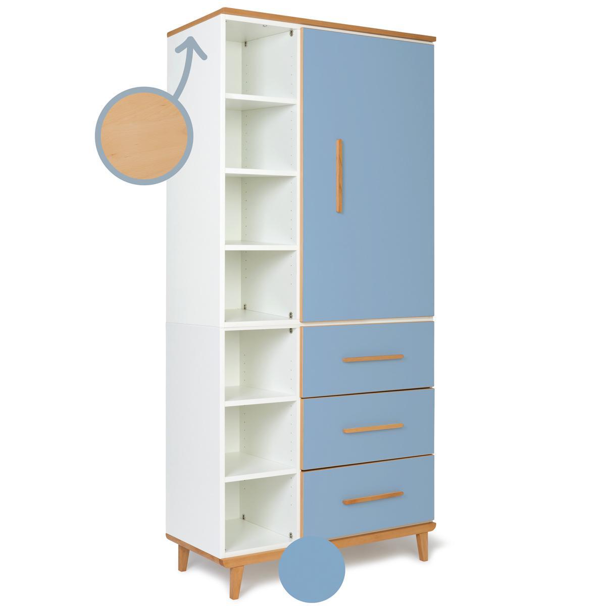 Armoire 198cm 1 porte 3 tiroirs NADO capri blue