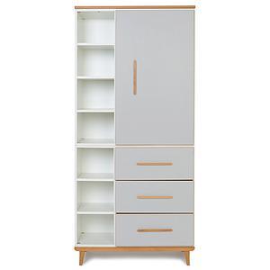 Armoire 198cm 1 porte 3 tiroirs NADO manhattan grey