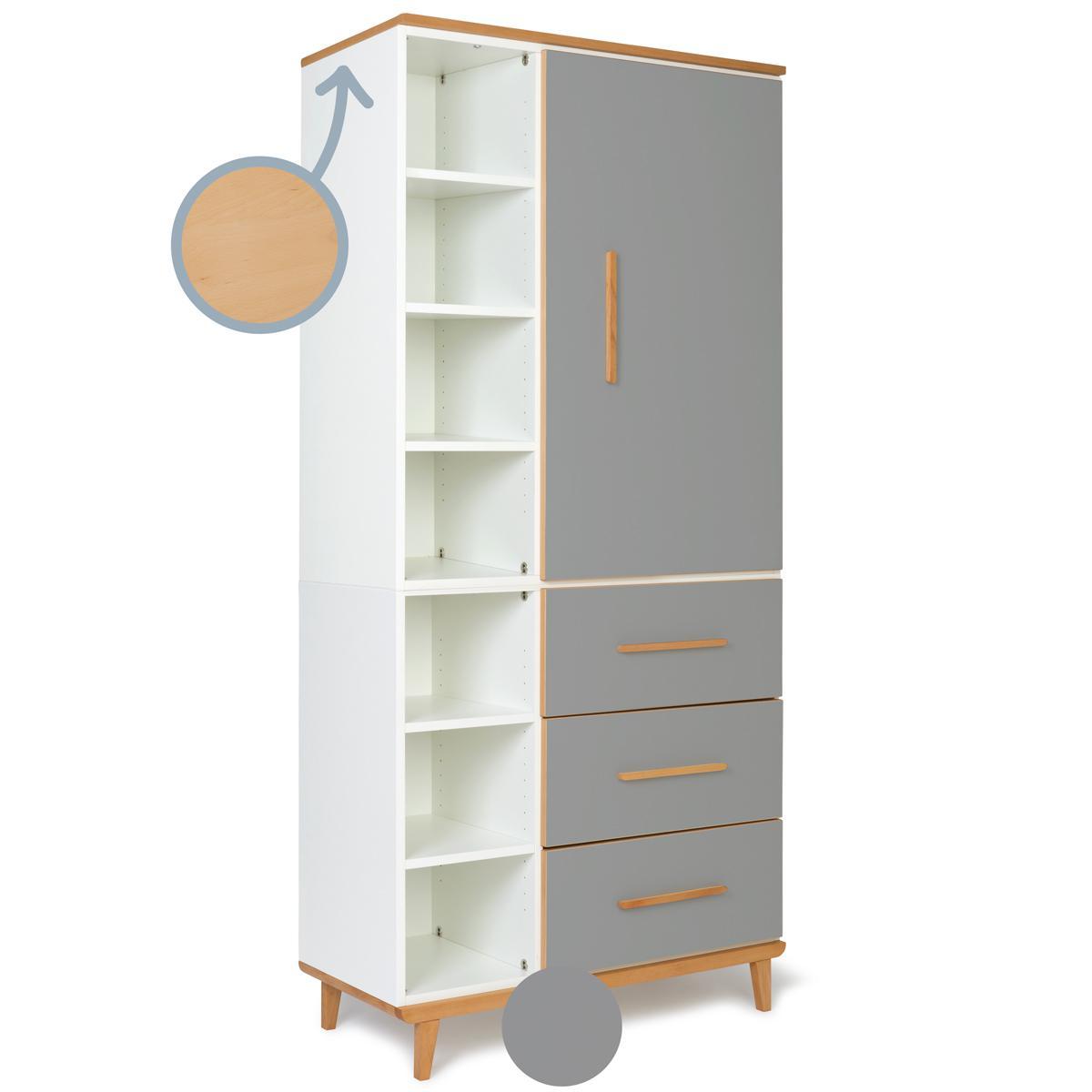 Armoire 198cm 1 porte 3 tiroirs NADO slate grey
