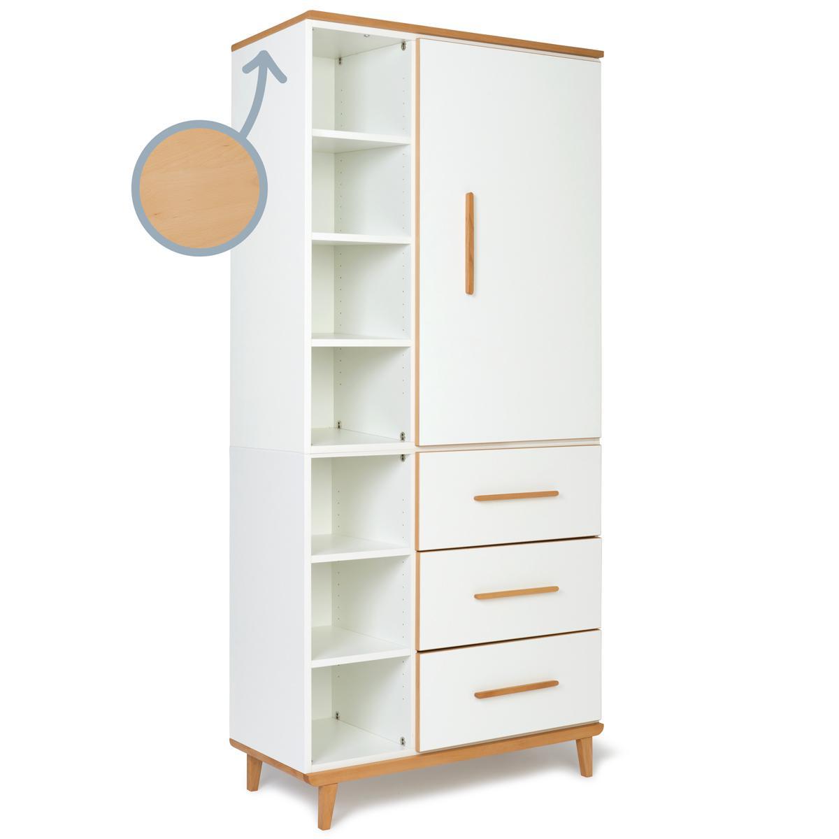 Armoire 198cm 1 porte 3 tiroirs NADO white