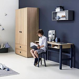 Armoire 2 portes-2 tiroirs 202cm POPSICLE Flexa chêne-blueberry