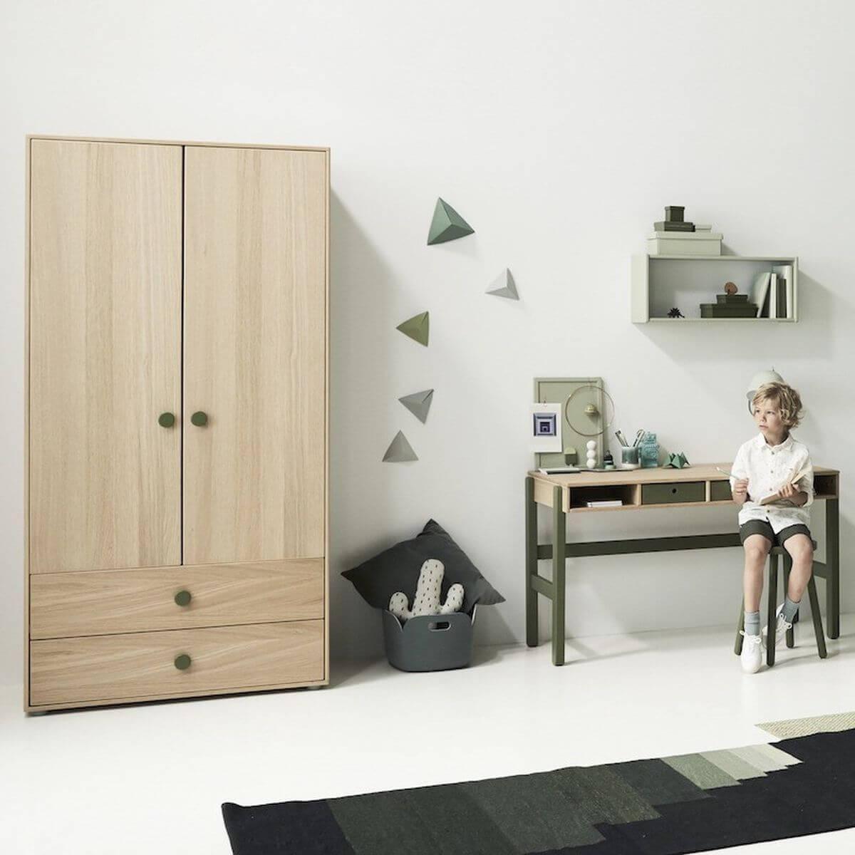 Armoire 2 portes-2 tiroirs 202cm POPSICLE Flexa chêne-kiwi