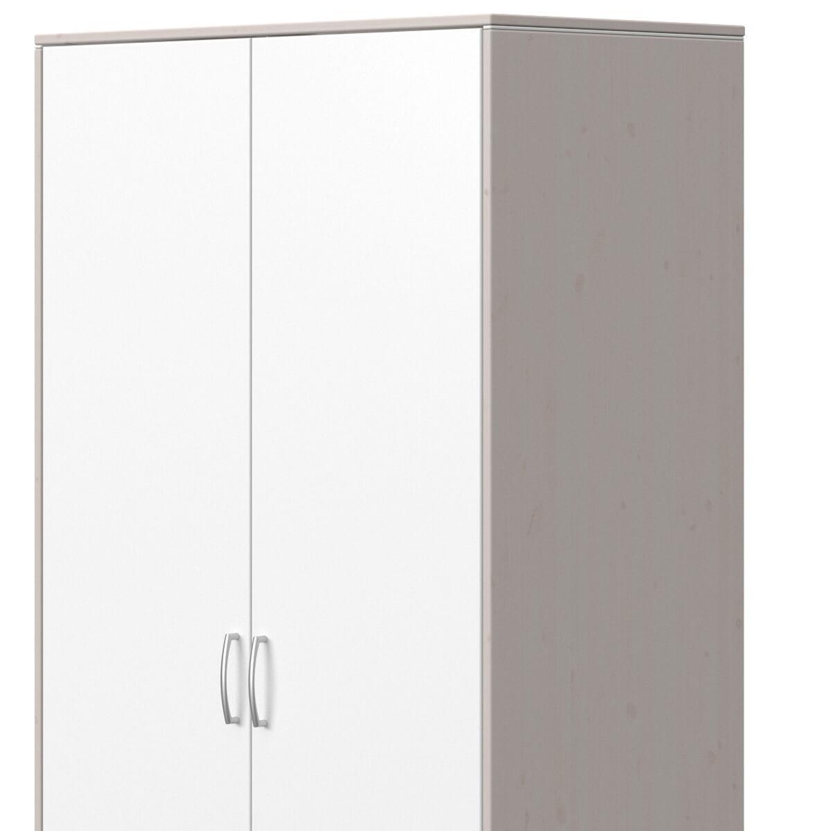 Armoire 2 portes 2 tiroirs CLASSIC Flexa blanc-grey washed