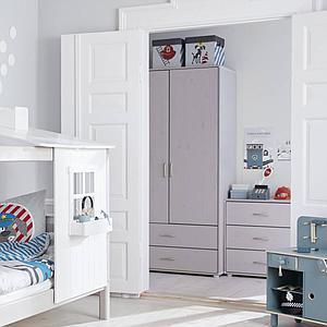 Armoire 2 portes 2 tiroirs CLASSIC Flexa grey washed