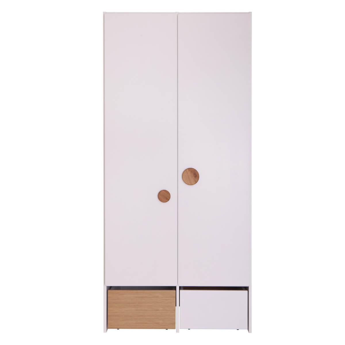 Armoire 2 portes 2 tiroirs KASVA blanc-chêne