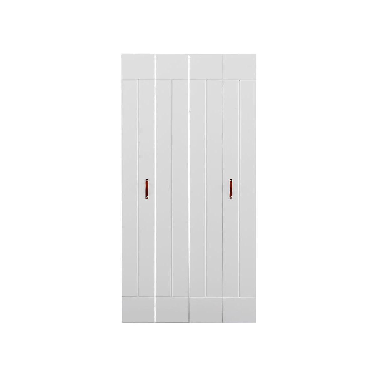 Armoire 2 portes accordéon 100cm Lifetime blanc-poignées cuir