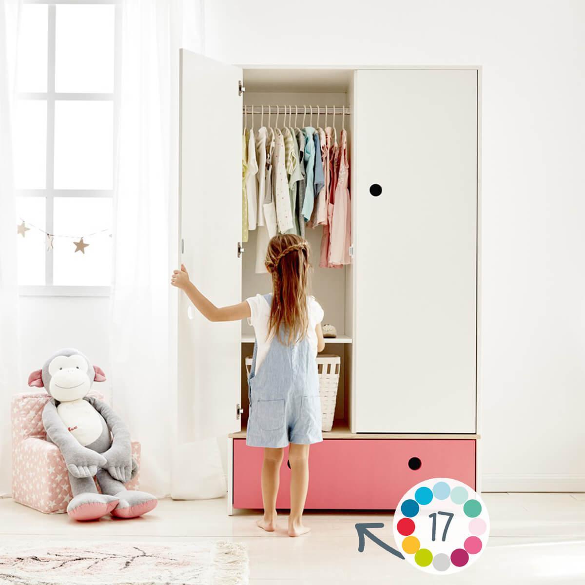 Armoire 2 portes COLORFLEX Abitare Kids façade tiroir plum