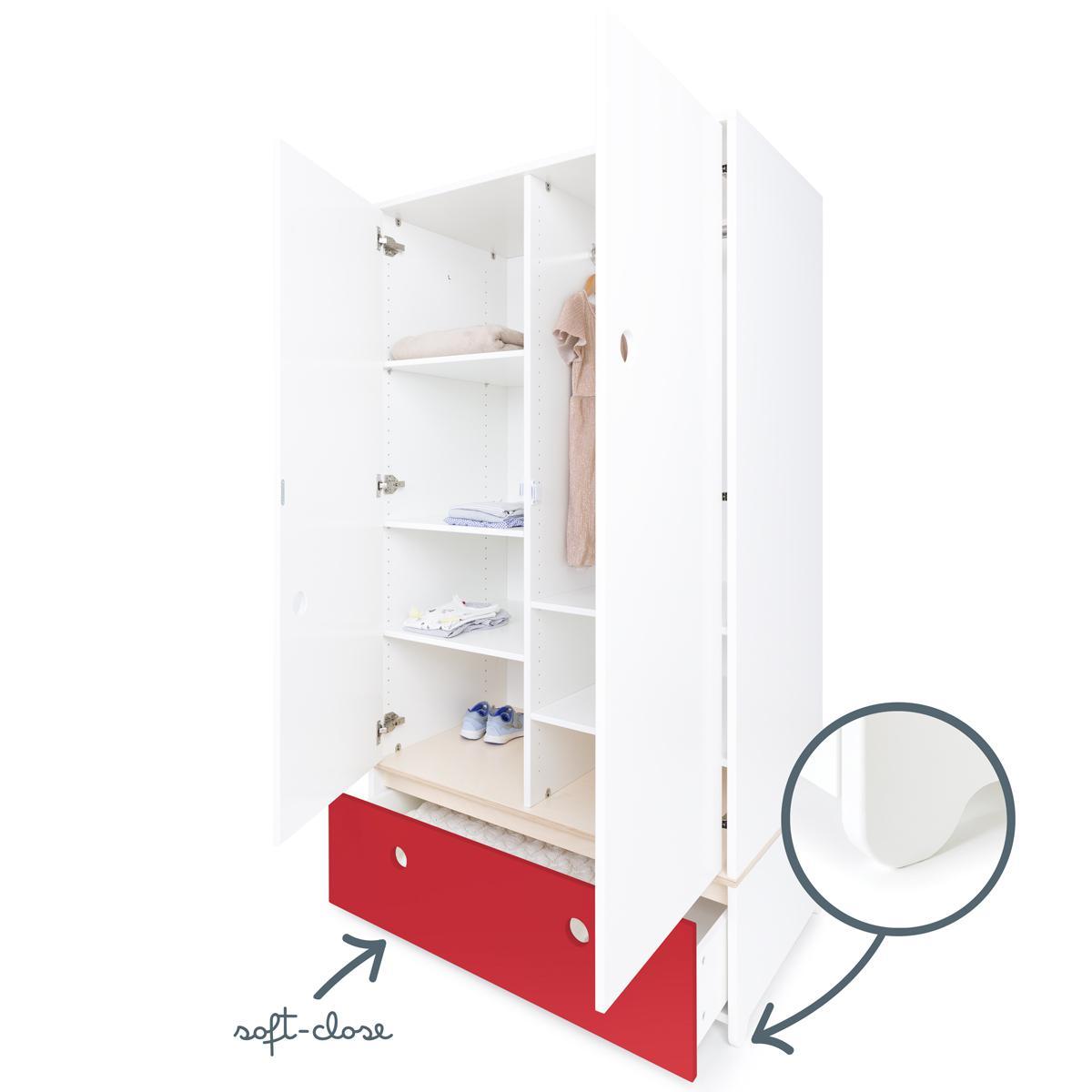 Armoire 2 portes COLORFLEX Abitare Kids façade tiroir true red