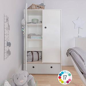 Armoire 2 portes COLORFLEX Abitare Kids façade tiroir white wash