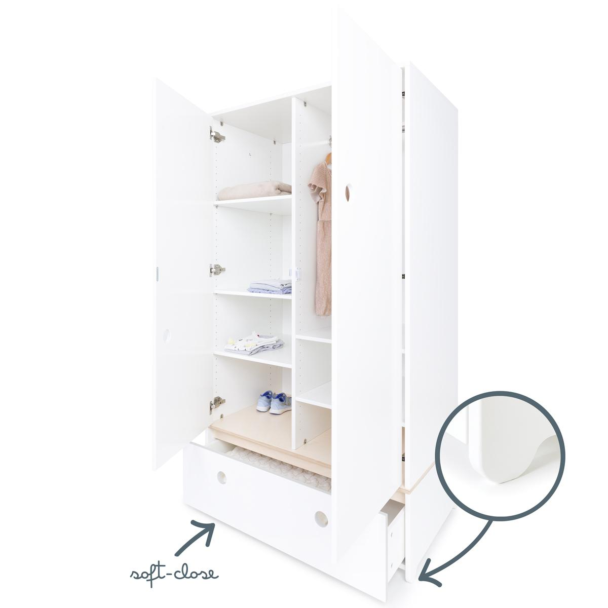 Armoire 2 portes COLORFLEX Abitare Kids façade tiroir white