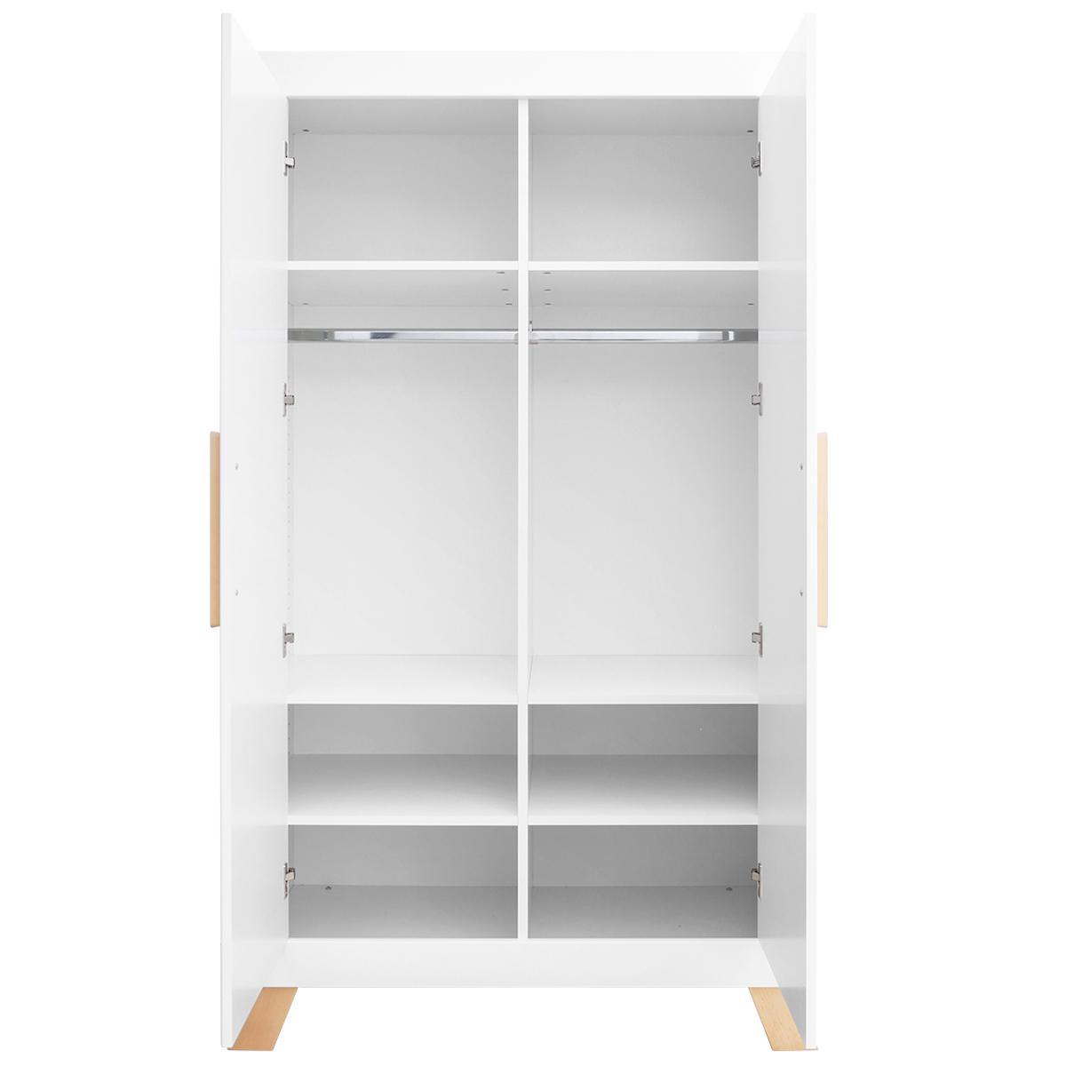 Armoire 2 portes LISA Bopita blanc-naturel