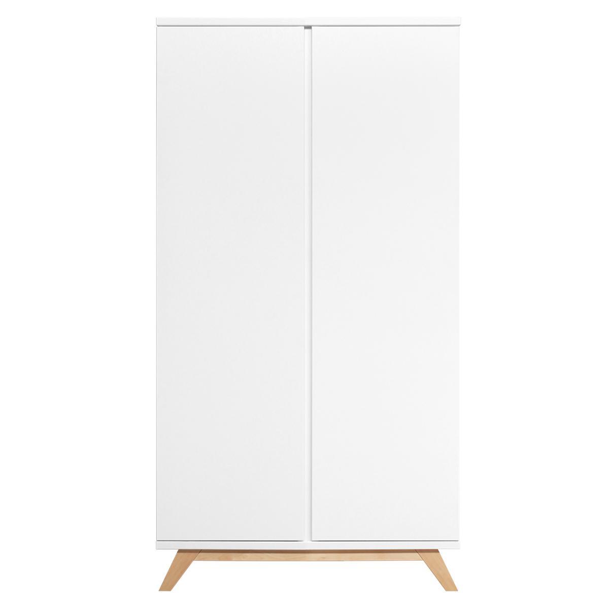 Armoire 2 portes XL LYNN Bopita blanc-naturel