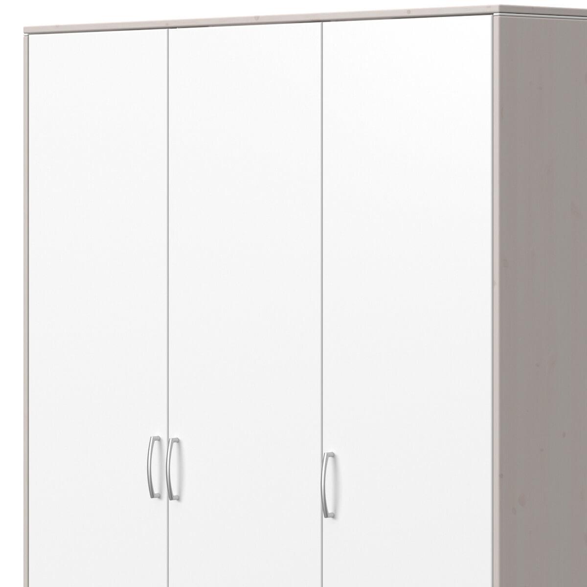 Armoire 3 portes 2 tiroirs CLASSIC Flexa blanc-grey washed