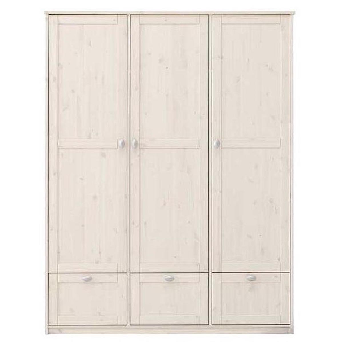 Armoire 3 portes-3 tiroirs 154cm Lifetime blanchi