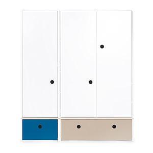 Armoire 3 portes COLORFLEX Abitare Kids façades tiroirs deep marine-warm grey