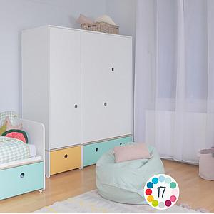 Armoire 3 portes COLORFLEX Abitare Kids façades tiroirs mint-pearl grey