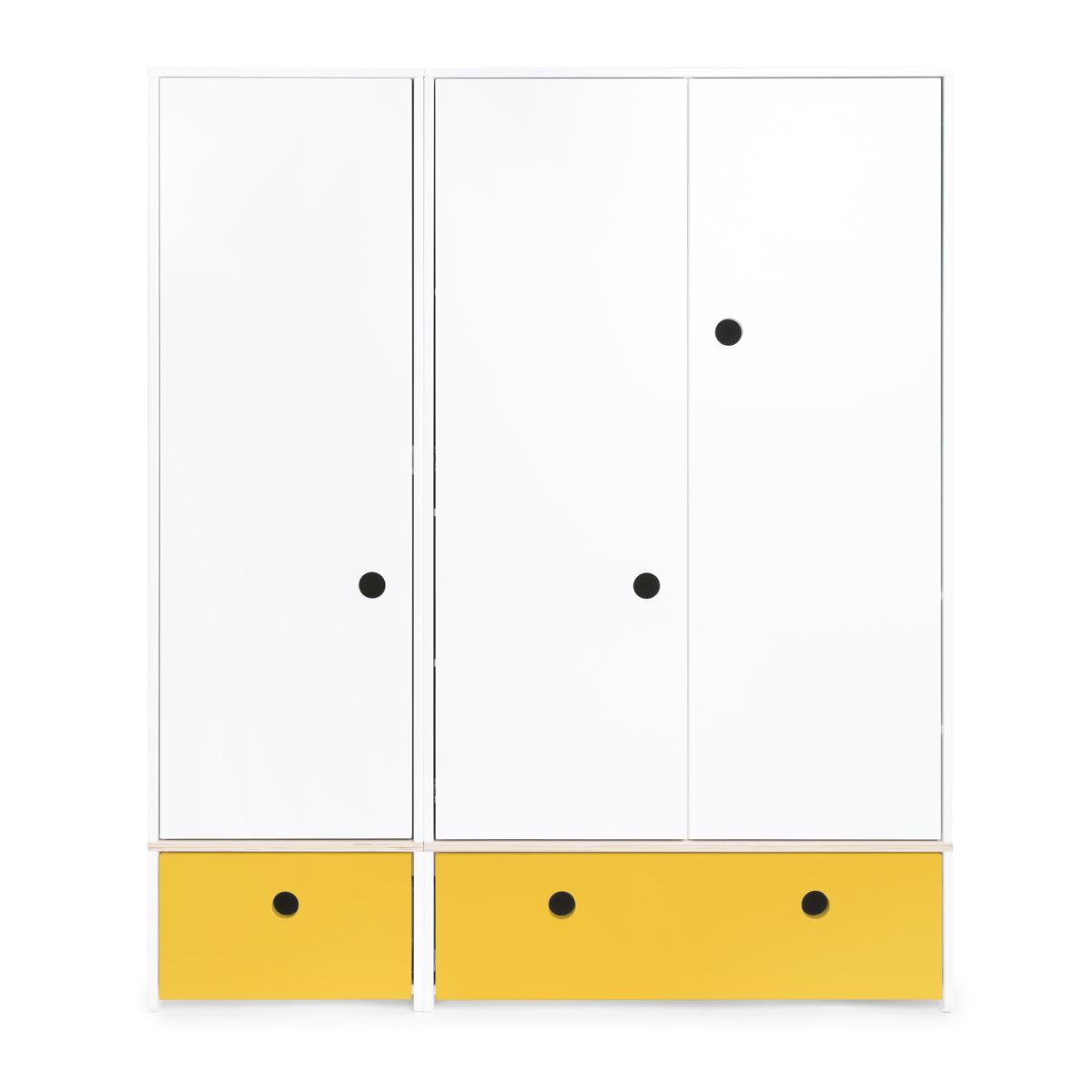 Armoire 3 portes COLORFLEX Abitare Kids façades tiroirs nectar yellow