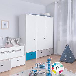 Armoire 3 portes COLORFLEX Abitare Kids façades tiroirs pearl grey-mint