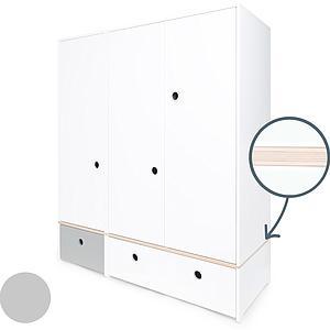 Armoire 3 portes COLORFLEX Abitare Kids façades tiroirs pearl grey-white