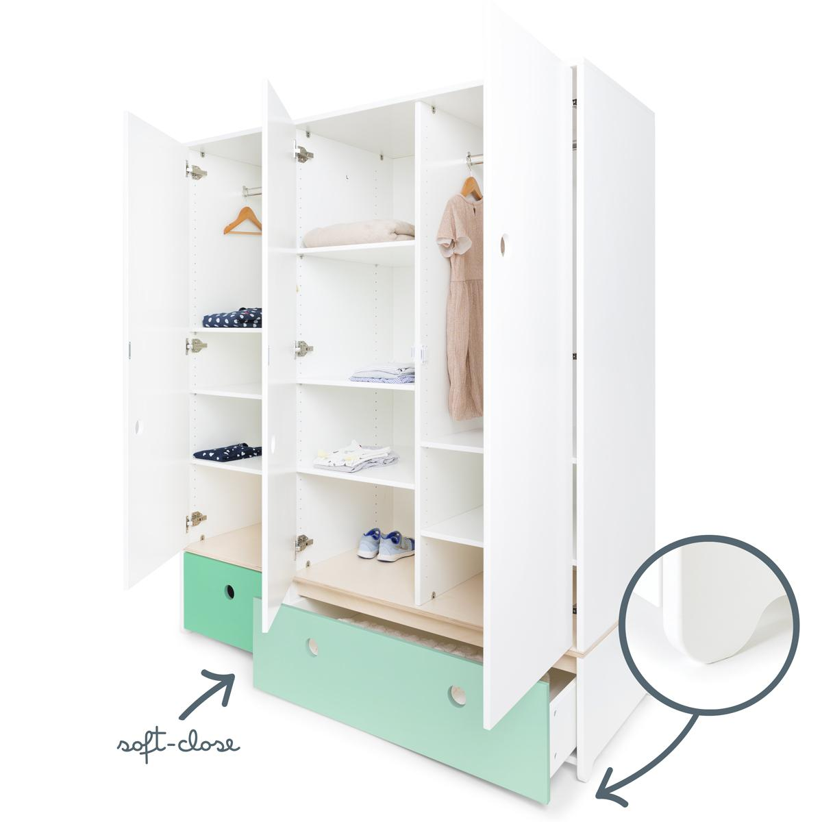 Armoire 3 portes COLORFLEX Abitare Kids façades tiroirs sea foam-mint