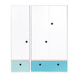 Armoire 3 portes COLORFLEX Abitare Kids façades tiroirs sky blue-paradise blue