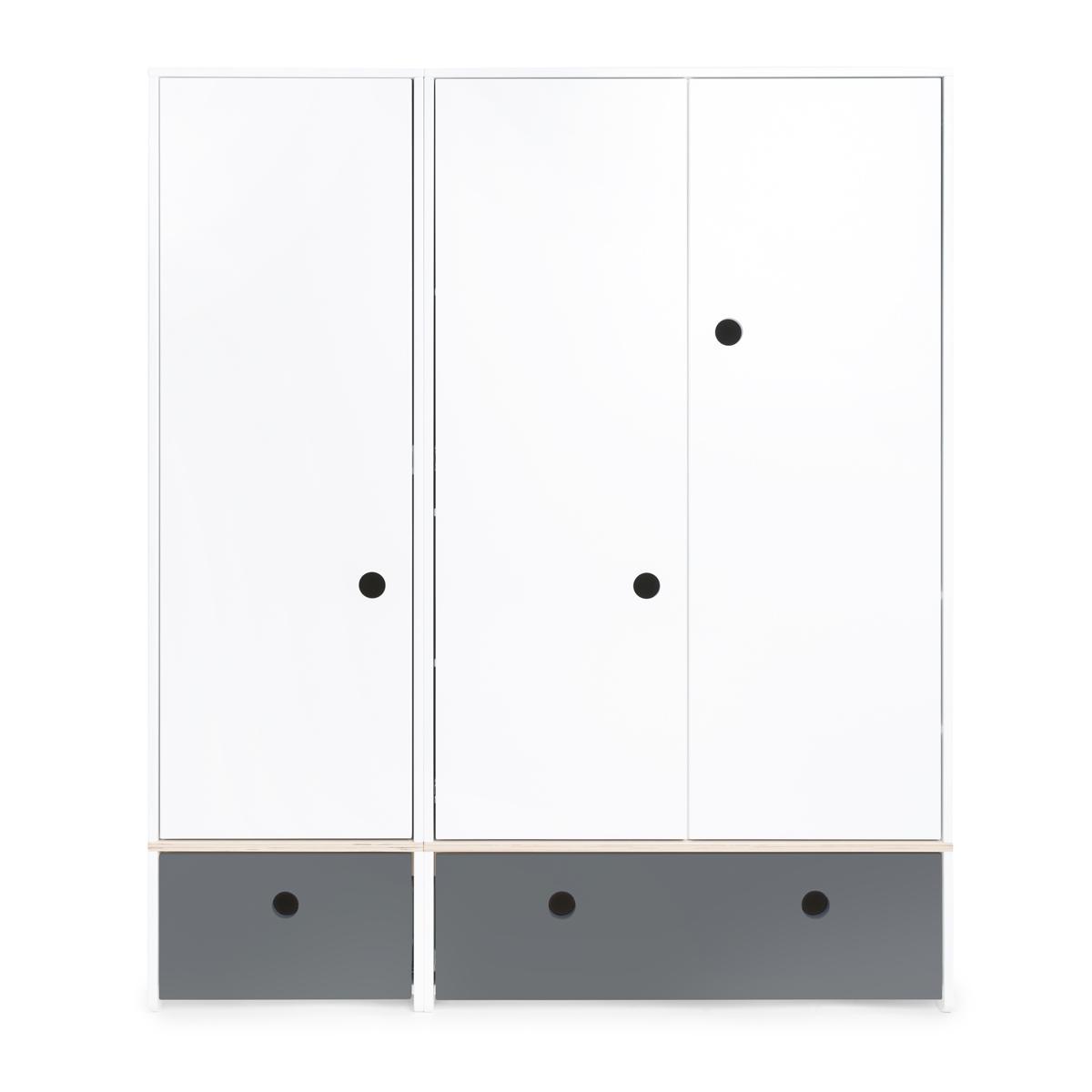 Armoire 3 portes COLORFLEX Abitare Kids façades tiroirs space grey