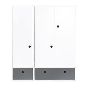 Armoire 3 portes COLORFLEX Abitare Kids façades tiroirs space grey