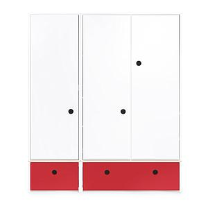 Armoire 3 portes COLORFLEX Abitare Kids façades tiroirs true red