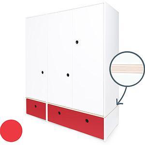 Armoire 3 portes COLORFLEX Abitare Kids façades tiroirs true red