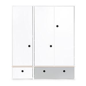 Armoire 3 portes COLORFLEX Abitare Kids façades tiroirs white-pearl grey