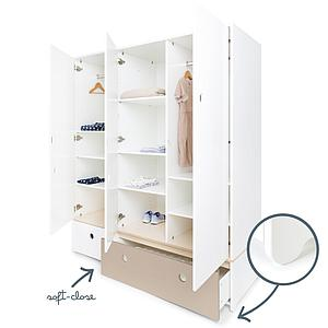 Armoire 3 portes COLORFLEX Abitare Kids façades tiroirs white-warm grey