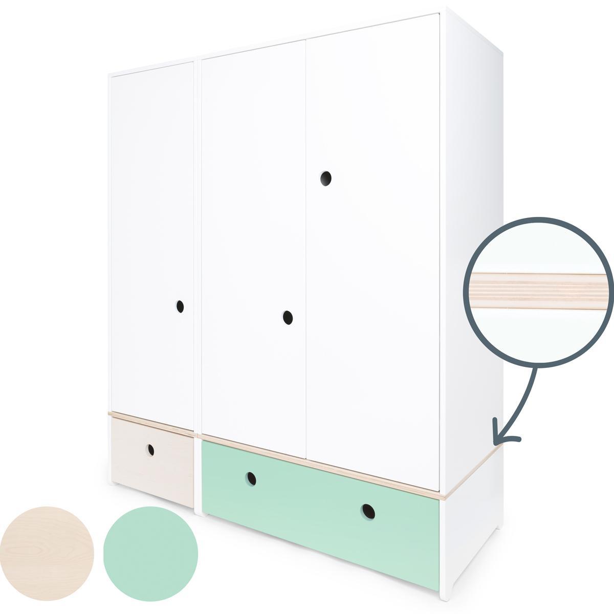 Armoire 3 portes COLORFLEX Abitare Kids façades tiroirs white wash-mint
