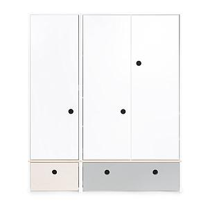 Armoire 3 portes COLORFLEX Abitare Kids façades tiroirs white wash-pearl grey